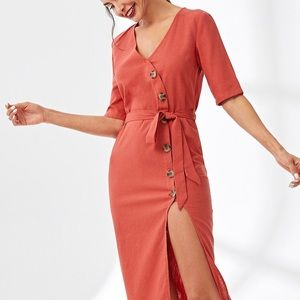 Red/Orange slit mid length dress